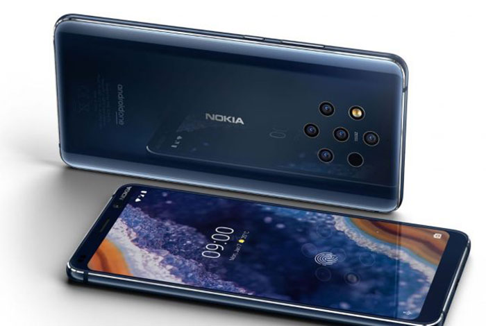 The fingerprint reader below the Nokia 9 screen is not
